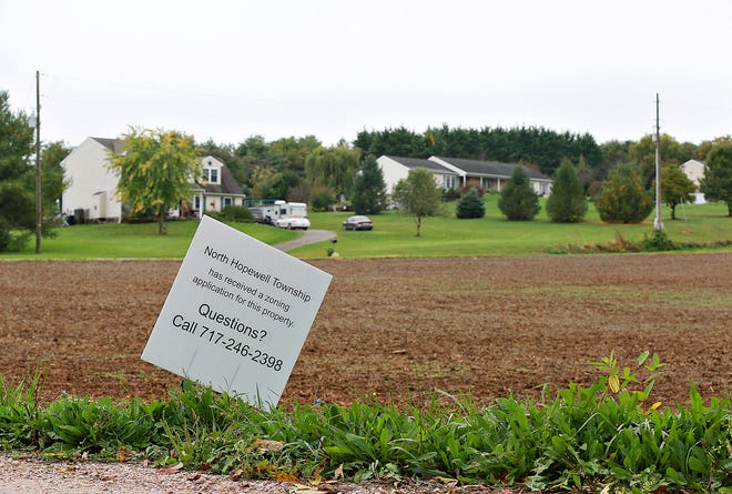 The location of a proposed fertilizer, pesticide plant site at 4687 Deer Rd. in North Hopewell Township, is shown with neighboring homes across Dairy Road in the background Tuesday, Oct. 13, 2020. Dawn J. Sagert photo