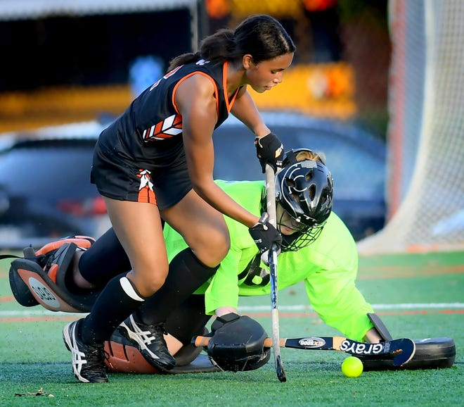 Central York's Victoria Whitehead, front, is the York-Adams Division I Player of the Year for a second consecutive season.