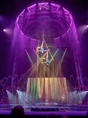 Leidy Astaiza and Susana Silva perform their aerial perch act during Cirque Italia's Water Circus.
