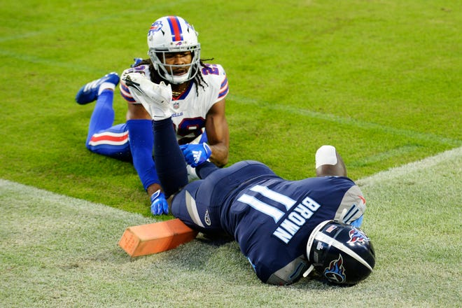 Bills cornerback Josh Norman was burned for an early touchdown by the Titans A.J. Brown.