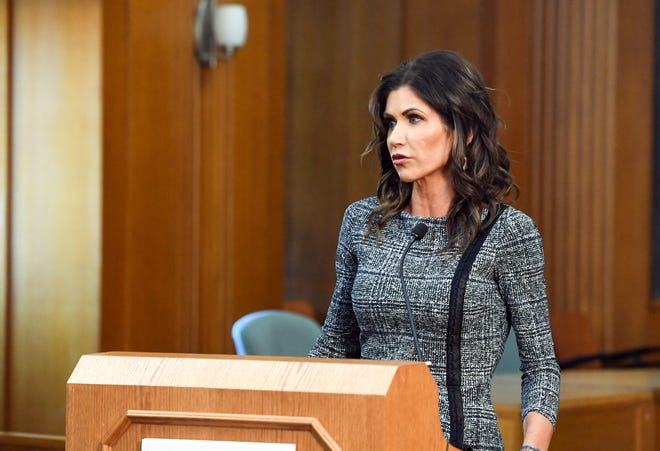 Governor Kristi Noem answers questions during an update on the investigation of the Saturday Sept. 12 crash involving Attorney General Jason Ravnsborg on Tuesday, October 13, at City Hall in Sioux Falls.