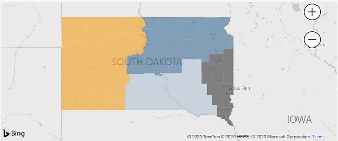 The four regions used by the South Dakota Department of Health to show hospital data.