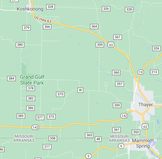 Grand Gulf State Park is located west of Thayer in southeast Missouri.