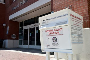 An official ballot drop box stands at The Downtown Oxnard Public Library last year. The library is one of three drop off locations for ballots in Oxnard's special election.