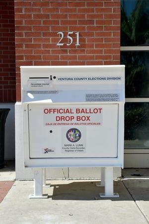 An official ballot drop box outside the downtown Oxnard Public Library.
