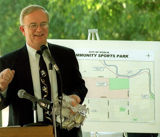 In this 2000 file photo, then Visalia Mayor Don Landers talks about the Visalia Community Sports Park.