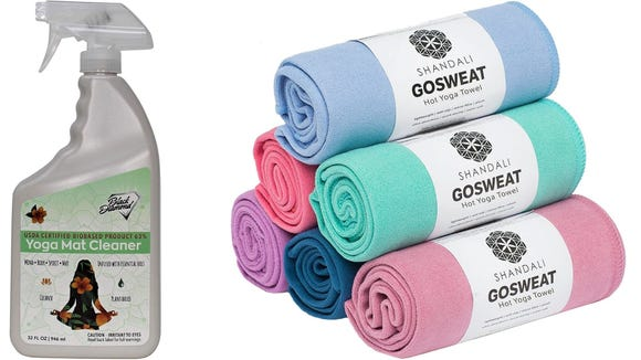 Best health and fitness gifts 2020: Black Diamond Yoga Mat Cleaner and Shandali Hot Yoga Towels
