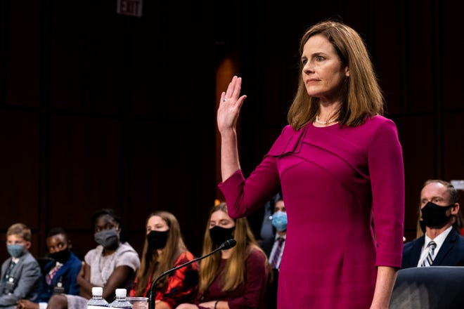 Then-Supreme Court Justice nominee Judge Amy Coney Barrett on Oct. 12, 2020, in Washington, D.C.