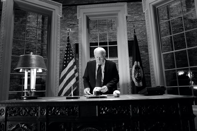 "The President is back. Martin Sheen sits in a makeshift Oval Office to reprise his role as President Jed Bartlet on ""A West Wing Special."""