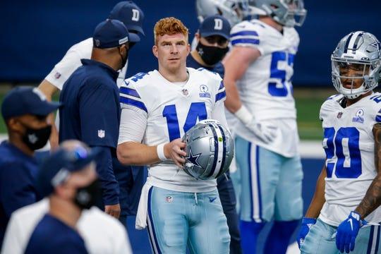 Dallas Cowboys quarterback Andy Dalton, 14, was watching an NFL game against the Atlanta Sokols on Sunday, September 20, 2020, in Arlington, Texas.