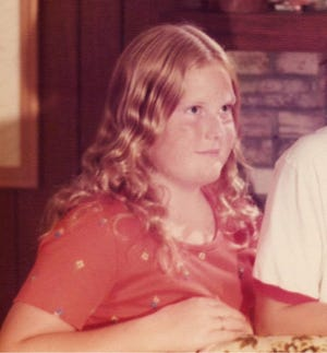 """Tierney Sadler, now 57, is shown when she was 12 and what she now calls """"chubby"""" but made her feel like """"a monster"""" back then."""