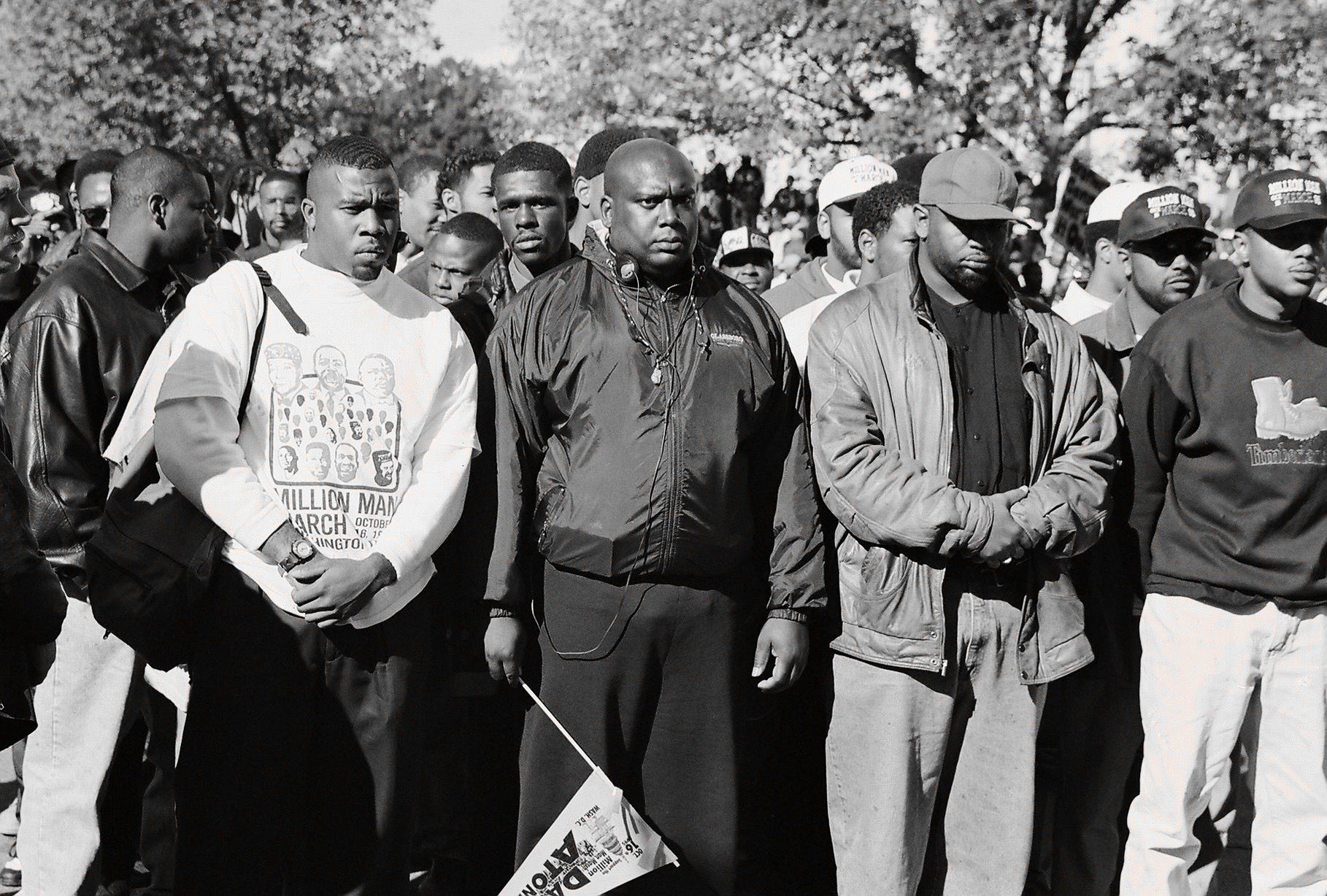 """Demonstrators attend the Million Man March in October 1995. Rod Terry, a Washington, D.C., prosecutor at the time, took the day off work to document the Million Man March with his camera. He titled this photo """"Seriousness of Purpose."""""""