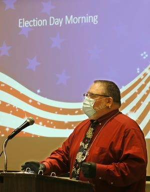 Summit County Board of Elections worker Russell Kunz talks about Election Day during a poll worker training at the Ellet Community Center on Tuesday in Akron.