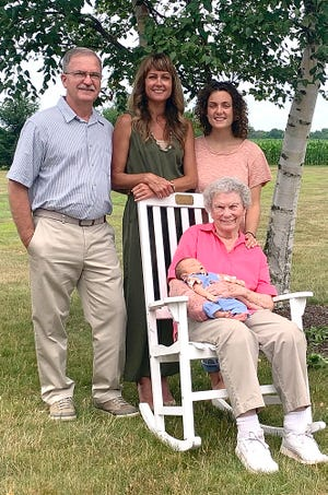 Great-grandfather Chris Fike (back left), grandmother Brooke Wesner, mother Genevieve Shultz,and great-great-grandmother Doris Fikeholding Kit Thomas Shultz, Shultz's son, represent five generations of the Fike family in Ashland.
