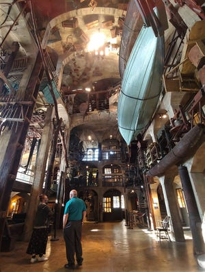 The great atrium of the Mercer Museum in Doylestown includes on the seventh floor the county's gallows used in the 1800s.
