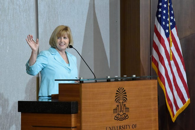 South Carolina Education Superintendent Molly Spearman addresses the initial gathering of accelerateSC, a group that was tasked with advising Gov. Henry McMaster on safely scaling the state's economy back up amid the coronavirus outbreak, April 23 in Columbia.