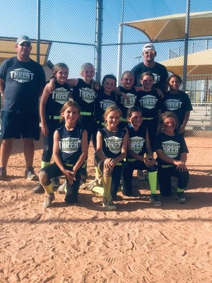 8U CTX Threat girls, coached by Jonathon Wright, took first  place recently in Brownwood. Chaos from Abilene took second and Glory 8U took third. [Photo contributed]
