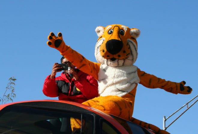 Truman the Tiger poses during the 2019 University of Missouri Homecoming parade.