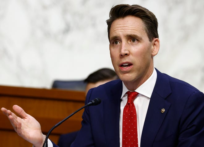 Sen. Josh Hawley, R-Mo., questions Supreme Court nominee Amy Coney Barrett during the third day of her confirmation hearings before the Senate Judiciary Committee on Capitol Hill.