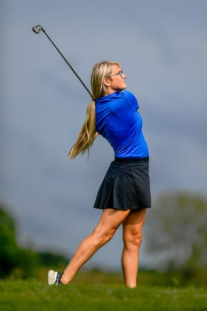 Senior Makenna Campbell of Southwest Livingston High School follows through on her iron off the tee during an Aug. 31, 2020, match at Chillicothe's Green Hills Golf Course. For a second year in a row, Campbell has qualified for the Class 1 state tournament. This year's event will be Monday and Tuesday, Oct. 19-20, at Smithville.