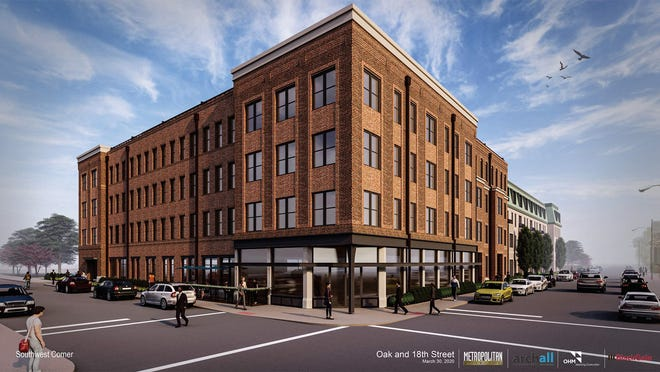 A proposed residential development at Oak Street and 18th Street contains 122 units and 2,750 square feet of commercial retail space. (Handout image provided by Metropolitan Holdings)