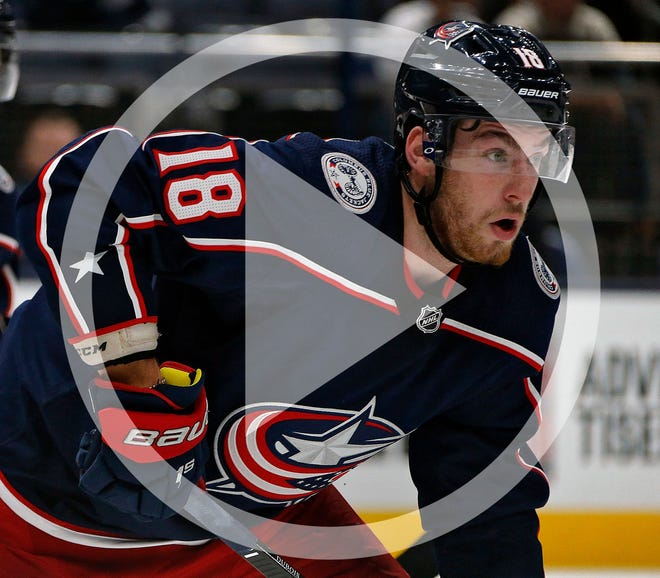 In this file photo, Columbus Blue Jackets left wing Pierre-Luc Dubois (18) heads towards the puck against Dallas Stars in the 2nd period during their NHL game at Nationwide Arena in Columbus, Ohio on October 16, 2019.