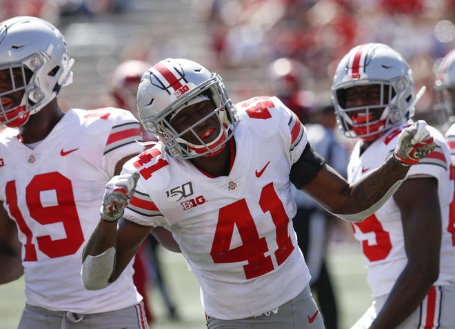 Ohio State safety Josh Proctor (41) reacts after missing a chance at an interception in a 2019 game at Indiana.