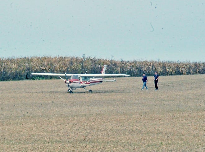 This small one engine plane made an emergency landing in this soybean field in Canaan Township Wednesday morning.