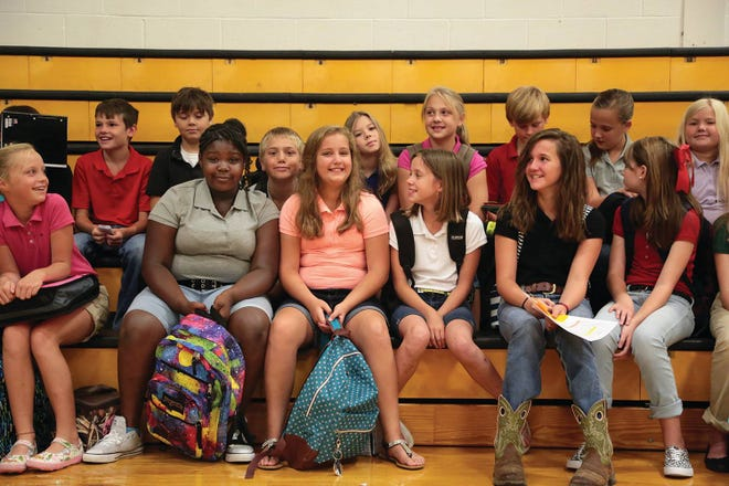 Students at Santa Fe Unit School assemble for the fist day of school in 2015.