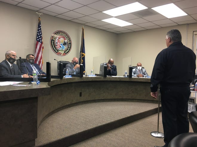 Ascension Parish Sheriff Bobby Webre addresses the Donaldsonville City Council Tuesday night.