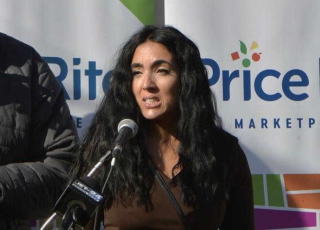 Gisele Fetterman, wife of Pennsylvania Lt. Gov. John Fetterman, speaks during a food outreach event Wednesday in Erie. She earlier addressed a racist incident that occurred on Sunday near her home in Braddock.