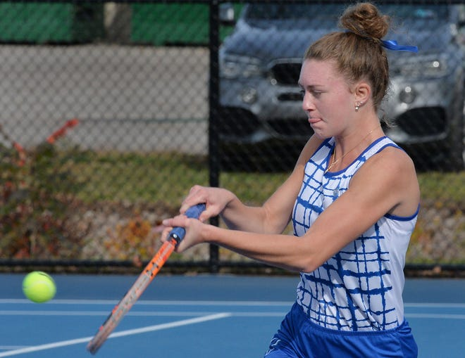 At No. 2 singles, Villa Maria Academy senior Ryleigh Valone returns a shot against Hickory during the District 10 Class 2A girls tennis team tournament.