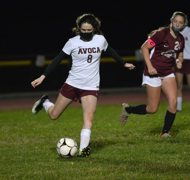 Avoca/Prattsburgh's Olivia Kilmer pushes the pace in Tuesday night's contest at Addison.