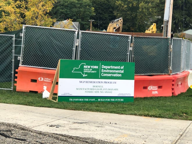 The $4.2 million cleanup of the former Manufactured Gas Plant (MPG) site on Franklin Street in Hornell began in September, but most of the work is hidden behind recently erected fencing.