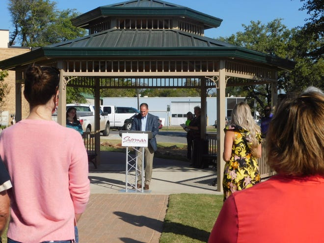 Sherman Mayor David Plyler speaks during a ribbon cutting ceremony for Harmony Music Park Wednesday morning.