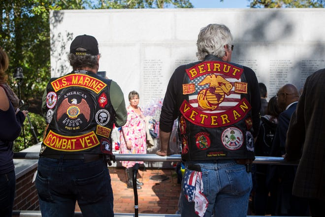 U.S. Marine veterans pay respects during the 36th Beirut Memorial Observance Ceremony at the Lejeune Memorial Gardens in Jacksonville, N.C., Oct. 23, 2019. A memorial observance is held on the 23rd of October every year to remember lives lost during the terrorist attacks at U.S. Marine Barracks, Beirut, Lebanon and Grenada in 1983.