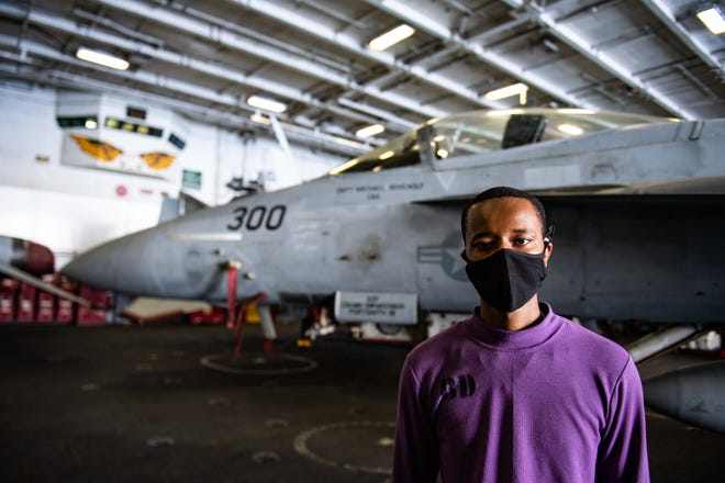 Aviation Boatswain's Mate (Fuels) Airman Caleb Freeman is a Jacksonville native and Northside High School graduate who is serving aboard the USS Ronald Reagan (CVN 76) during maritime security and stability operations in the Indian Ocean.