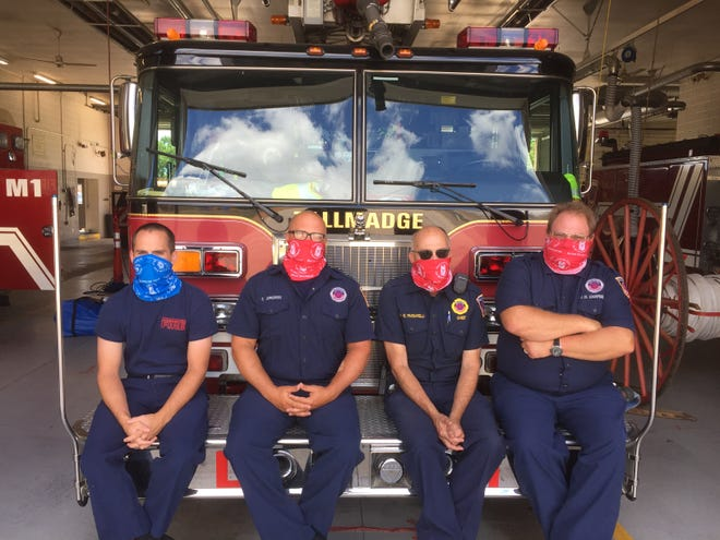 The Tallmadge Fire department was one of a number of area departments that Aluminum Cans for Burned Children presented gaiters, face and neck coverings, to in appreciation for serving as a drop-off location for can donations.