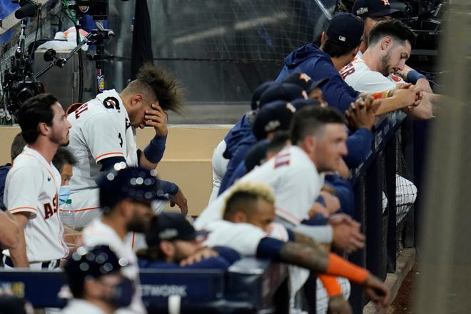 The Houston Astros dugout during the ninth inning of Game 3 of of the American League Championship Series on Tuesday night.