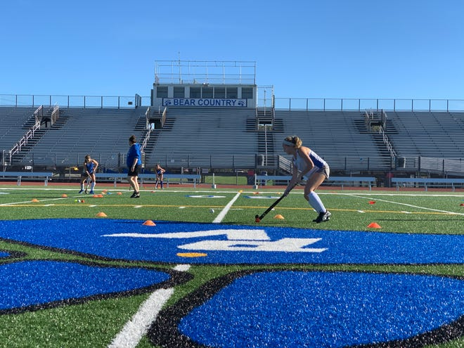 Pleasant Valley High School's field hockey team practices on Wednesday, Oct. 14, 2020 for just the second time since the school shut down on Sept. 28 for confirmed cases of COVID-19 in the building. The Bears will play three consecutive games starting Thursday.