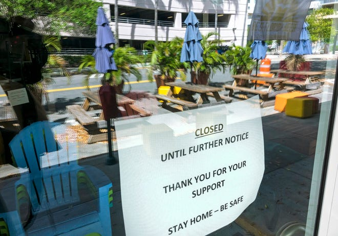 Sidewalk tables are empty in March 2020 as West Palm Brewery in downtown West Palm Beach was closed due to COVID-19.