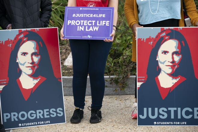 Supporters of the confirmation of President Donald Trump's Supreme Court nominee, Judge Amy Coney Barrett, rally on Capitol Hill in Washington, Wednesday, Oct. 14, 2020. [AP Photo/Jose Luis Magana]