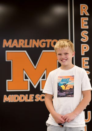 Marlington Middle School student Brady Denham is a United Way of Greater Stark County Kid of Character for October.  Wednesday, Oct. 14, 2020.