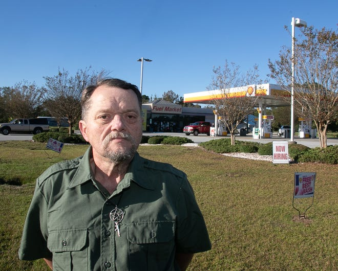 Eugene Helvie is seeking apologies and recompense after he said he was refused a lottery ticket because of his Wiccan faith at this Bridgeton Fuel Market. [Bill Hand / Sun Journal Staff]