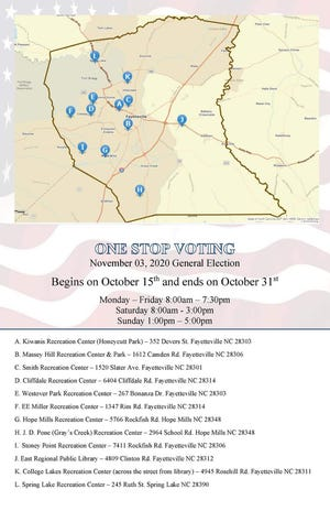 These are the early voting sites for Cumberland County for the Nov. 3 election. Early voting runs from Thursday through Oct. 31.