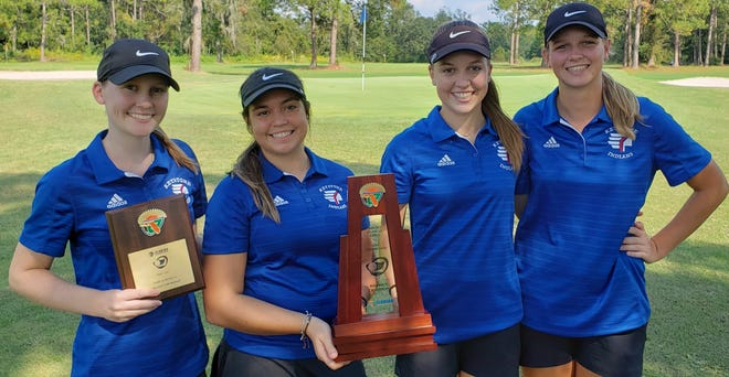The Keystone Heights High girls golf team won the district title Tuesday at Quail Heights CC in Lake City, shooting 339. Camille Jackson won individual medalist, shooting 72.