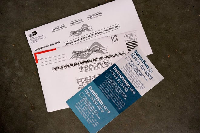 A sample of a vote-by-mail ballot is shown at the Miami-Dade County Elections Department.