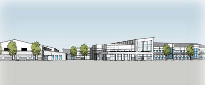 An architect's rendering shows the new high school to be built near N.C. 119 and Jim Minor Road.