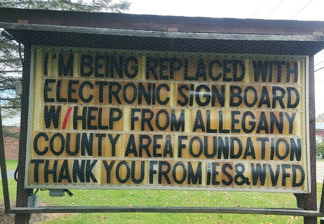 The Independence Emergency Squad (IES) grant helps with replacement of the IES/Whitesville Fire Department sign board.