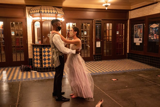 "Cindy (Nicole Sutphen) and Harry (Caleb Evans) dance the night away at the Paramount Theatre in this scene from ""Cinderella,"" Abilene Christian University's homecoming music video."